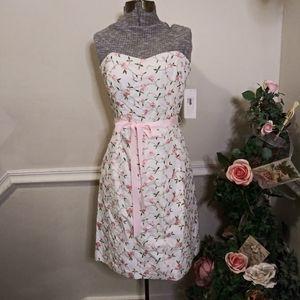 Shoshanna Rose Embroidered White Strapless Dress